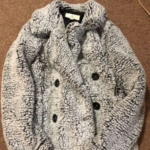 Fluffy salt and pepper colored teddy jacket